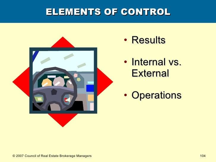ELEMENTS OF CONTROL <ul><li>Results </li></ul><ul><li>Internal vs. External </li></ul><ul><li>Operations </li></ul>