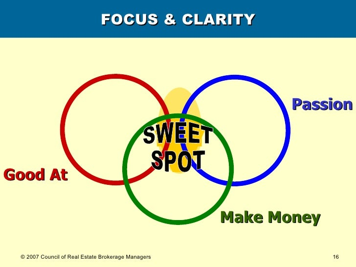 FOCUS & CLARITY SWEET SPOT Good At Passion Make Money