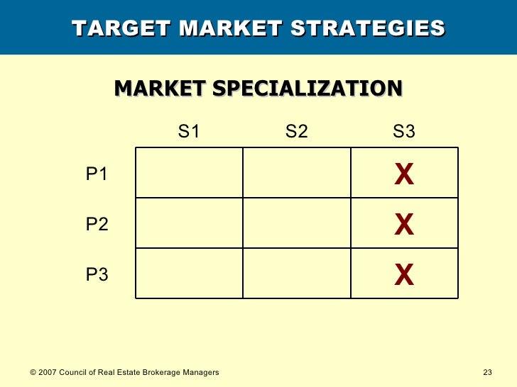 TARGET MARKET STRATEGIES MARKET SPECIALIZATION X P3 X P2 X P1 S3 S2 S1