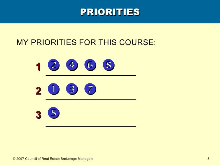 PRIORITIES <ul><li>1             </li></ul><ul><li>2          </li></ul><ul><li>3    </li></ul>MY PRIORITIES FOR T...