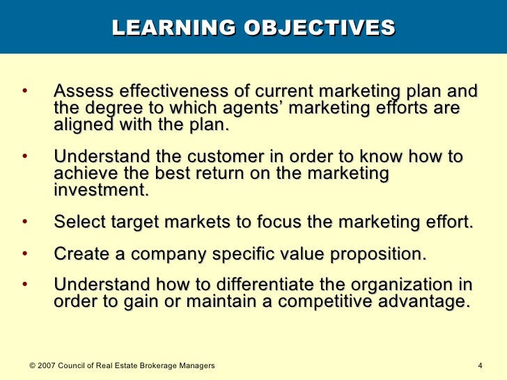 LEARNING OBJECTIVES <ul><li>Assess effectiveness of current marketing plan and the degree to which agents' marketing effor...