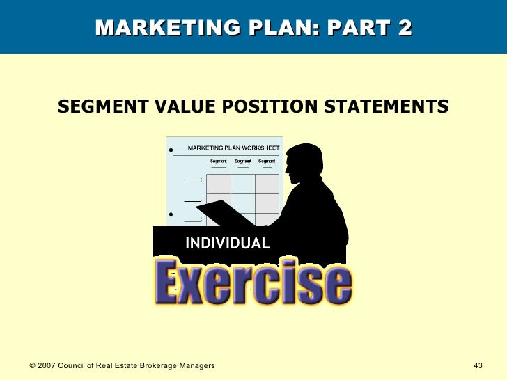 MARKETING PLAN: PART 2 SEGMENT VALUE POSITION STATEMENTS INDIVIDUAL