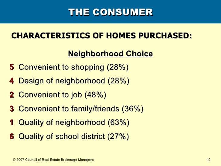 THE CONSUMER <ul><li>Neighborhood Choice </li></ul><ul><li>5   Convenient to shopping (28%) </li></ul><ul><li>4   Design o...