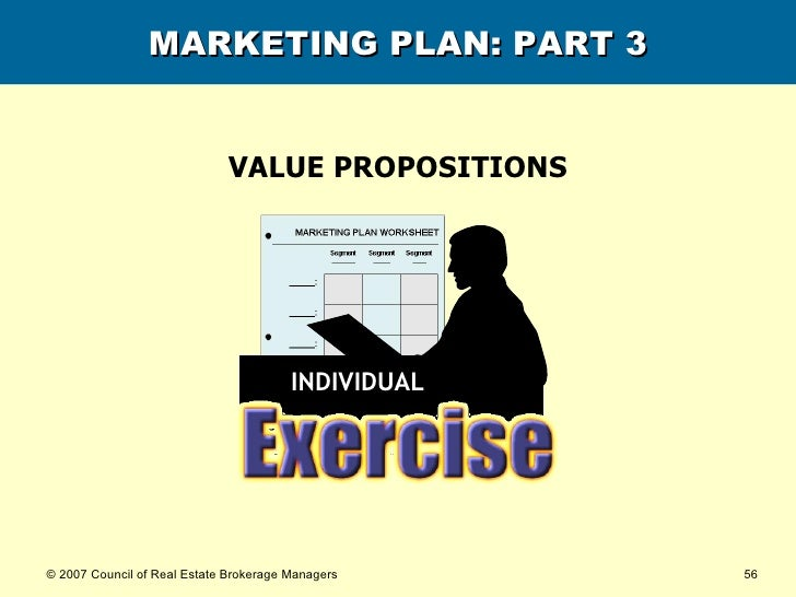 MARKETING PLAN: PART 3 VALUE PROPOSITIONS INDIVIDUAL