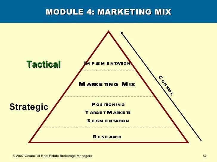 MODULE 4: MARKETING MIX Research   Marketing Mix   Strategic Tactical Positioning Target Markets Segmentation Implementati...