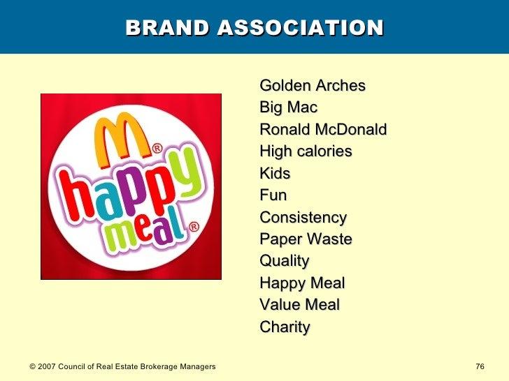 BRAND ASSOCIATION <ul><li>Golden Arches </li></ul><ul><li>Big Mac </li></ul><ul><li>Ronald McDonald </li></ul><ul><li>High...
