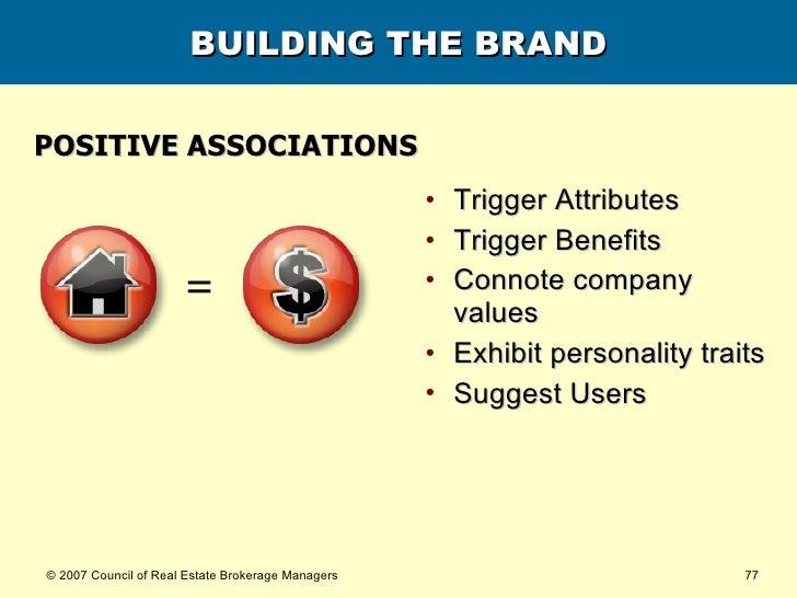 BUILDING THE BRAND <ul><li>POSITIVE ASSOCIATIONS </li></ul><ul><li>Trigger Attributes </li></ul><ul><li>Trigger Benefits <...