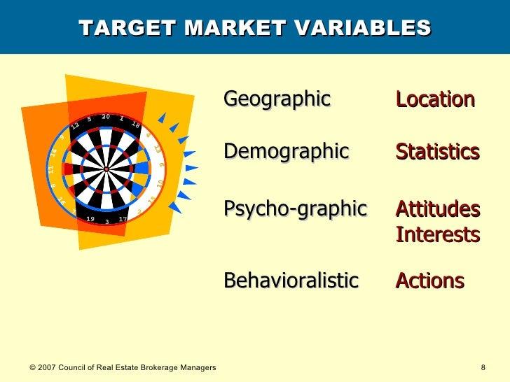 TARGET MARKET VARIABLES Geographic   Location Demographic   Statistics Psycho-graphic   Attitudes   Interests Behavioralis...
