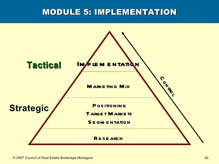 MODULE 5: IMPLEMENTATION Research   Implementation   Strategic Tactical Positioning Target Markets Segmentation Marketing ...