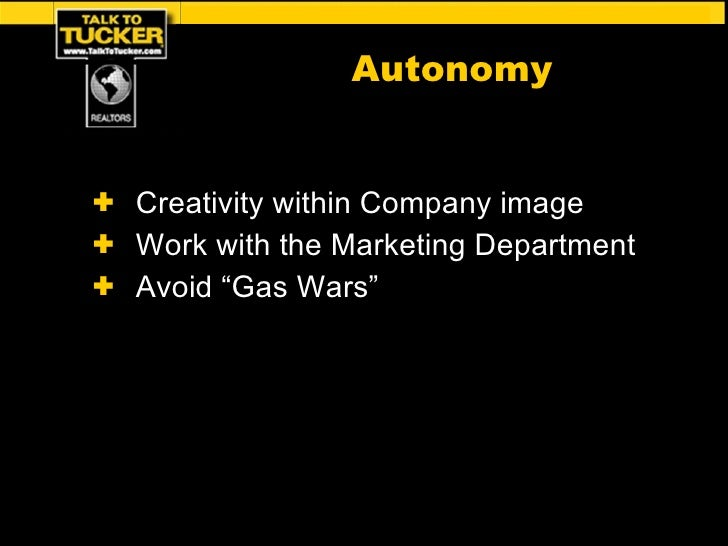 "<ul><li>Creativity within Company image </li></ul><ul><li>Work with the Marketing Department </li></ul><ul><li>Avoid ""Gas ..."
