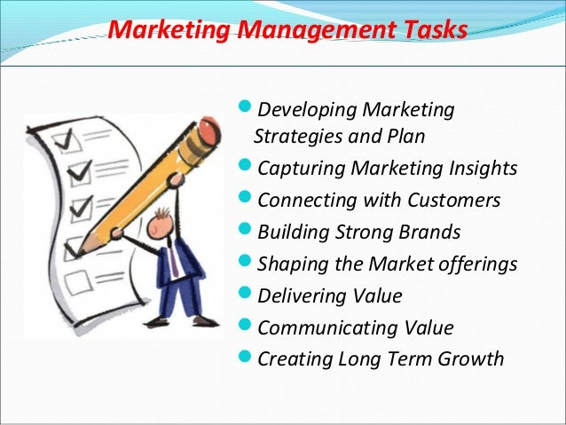 marketing management tasks essay Definition of marketing management: the application, tracking and review of a company's marketing resources and activities.