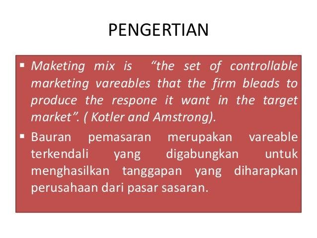 pengertian marketing mix Kata produk berasal dari bahasa inggris product yang berarti sesuatu yang diproduksi oleh tenaga kerja atau sejenisnya bentuk kerja dari kata product, yaitu produce, merupakan serapan dari bahasa latin prōdūce(re), yang berarti (untuk) memimpin atau membawa sesuatu untuk maju.