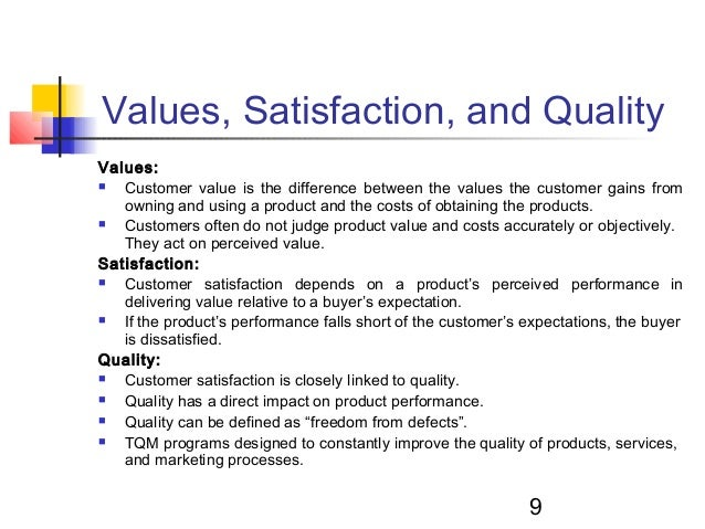 marketing and quality management Advertisements: some of the major objectives of marketing management are as follows: 1 creation of demand 2 customer satisfaction 3 the marketing department provides quality products to customers at reasonable prices and thus creates its impact on the customers.