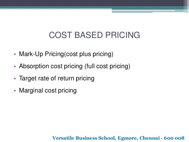 Full cost pricing and marginal costing
