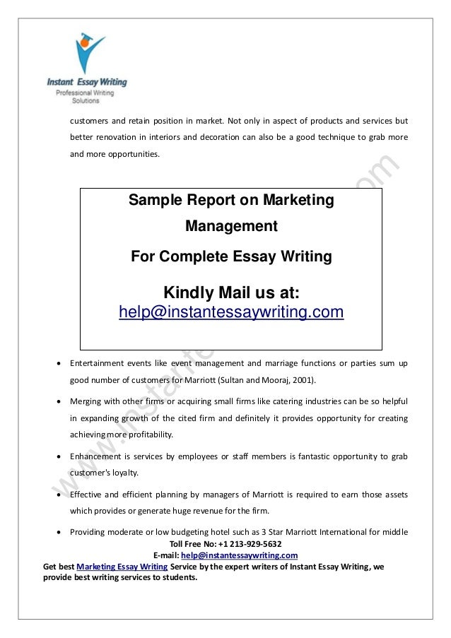 sample report on marketing management by instant essay writing 12
