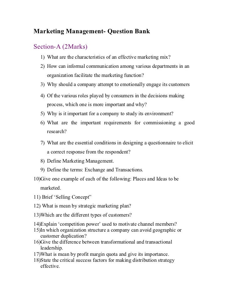 Marketing management questions