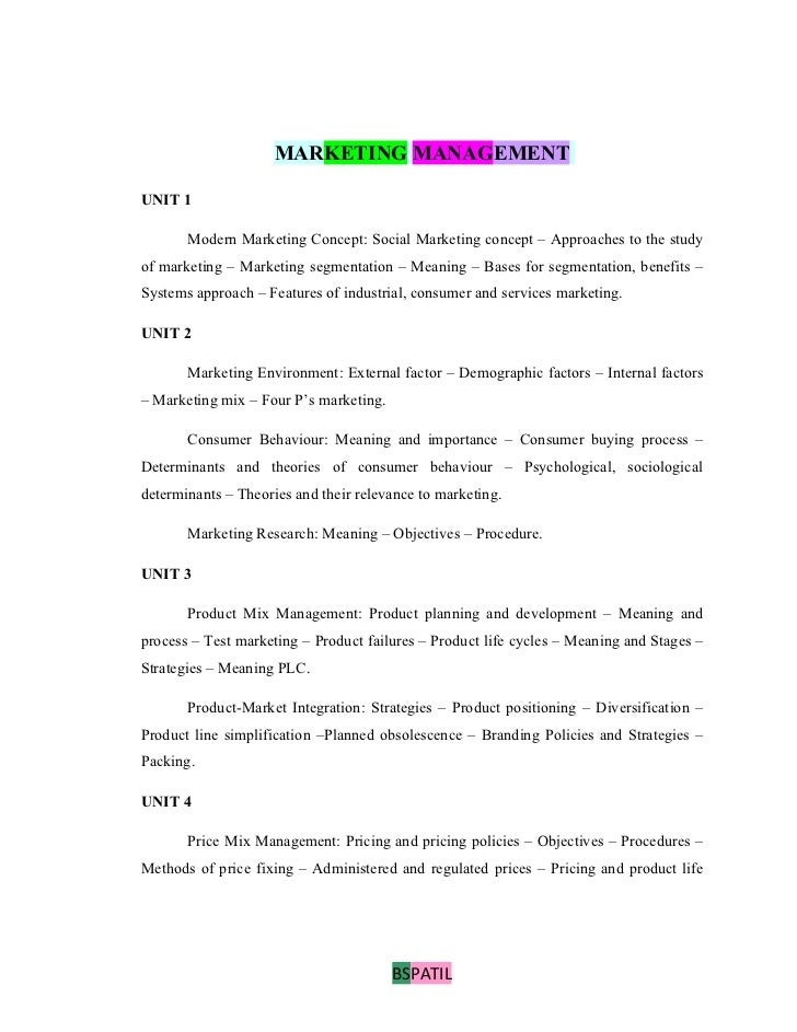MARKETING MANAGEMENTUNIT 1       Modern Marketing Concept: Social Marketing concept – Approaches to the studyof marketing ...