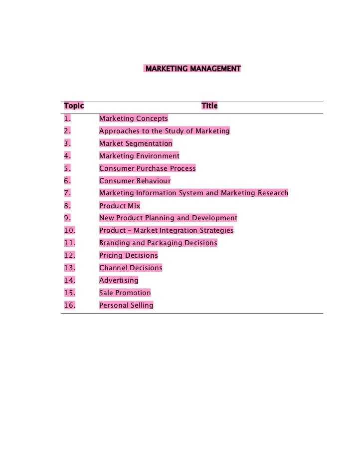 MARKETING MANAGEMENTTopic                                Title1.      Marketing Concepts2.      Approaches to the Study of...