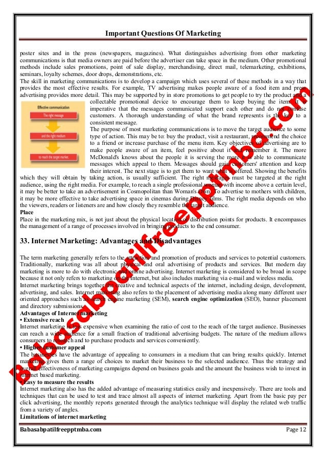 Important Questions Of Marketing Babasabpatilfreepptmba.com Page 12 poster sites and in the press (newspapers, magazines)....