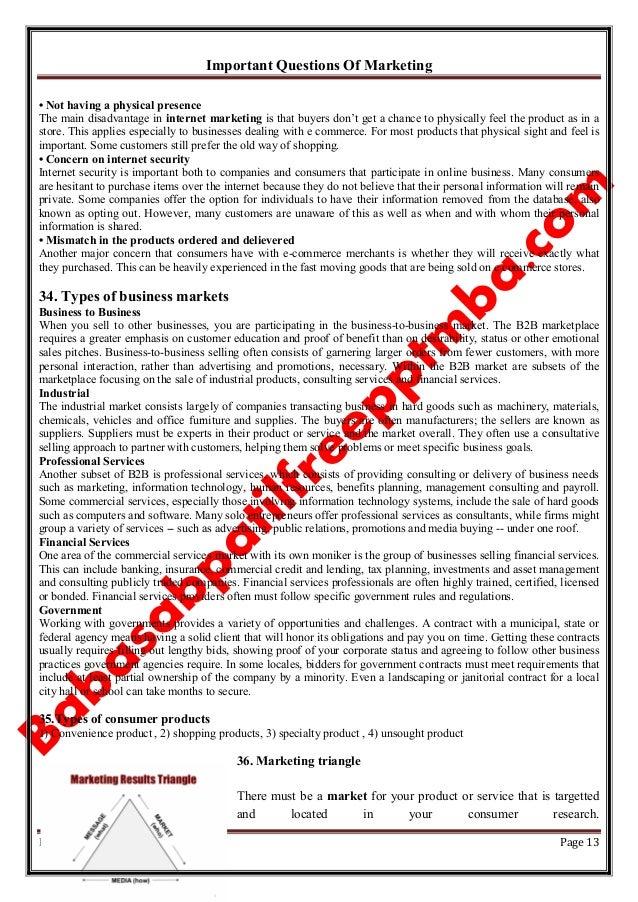 Important Questions Of Marketing Babasabpatilfreepptmba.com Page 13 • Not having a physical presence The main disadvantage...