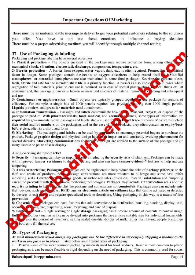 Important Questions Of Marketing Babasabpatilfreepptmba.com Page 14 There must be an understandable message to deliver to ...