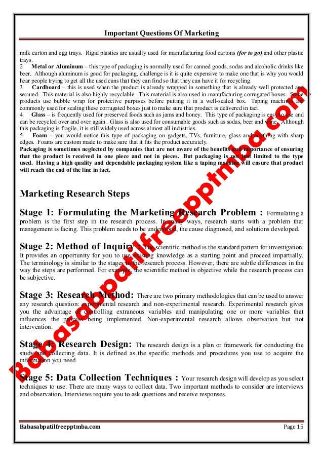 Important Questions Of Marketing Babasabpatilfreepptmba.com Page 15 milk carton and egg trays. Rigid plastics are usually ...
