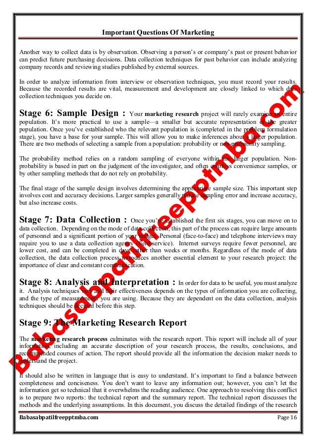 Important Questions Of Marketing Babasabpatilfreepptmba.com Page 16 Another way to collect data is by observation. Observi...