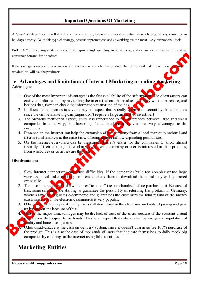 """Important Questions Of Marketing Babasabpatilfreepptmba.com Page 19 A """"push"""" strategy tries to sell directly to the consum..."""