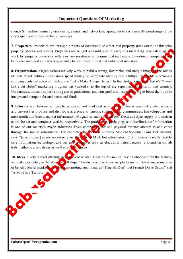 Important Questions Of Marketing Babasabpatilfreepptmba.com Page 21 spends $ 1 million annually on e-mails, events, and ne...