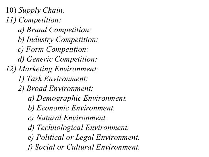 10)  Supply Chain. 11) Competition: a) Brand Competition: b) Industry Competition: c) Form Competition: d) Generic Competi...