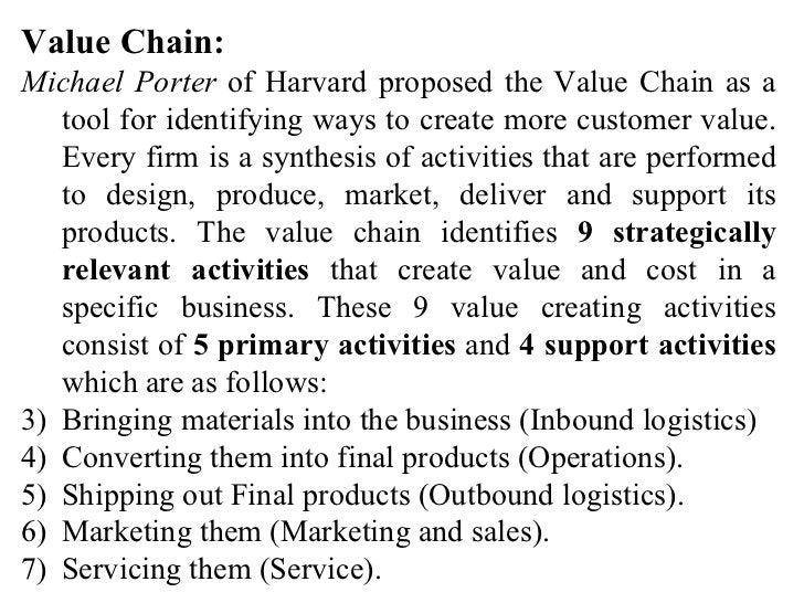 <ul><li>Value Chain: </li></ul><ul><li>Michael Porter  of Harvard proposed the Value Chain as a tool for identifying ways ...