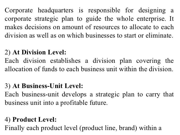 Corporate headquarters is responsible for designing a corporate strategic plan to guide the whole enterprise. It makes dec...