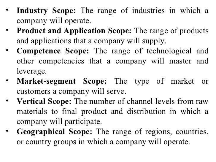 <ul><li>Industry Scope:  The range of industries in which a company will operate. </li></ul><ul><li>Product and Applicatio...