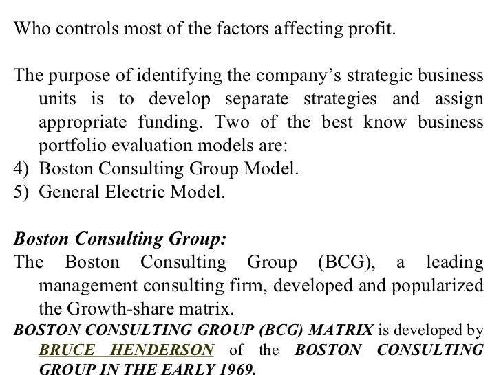 <ul><li>Who controls most of the factors affecting profit. </li></ul><ul><li>The purpose of identifying the company's stra...