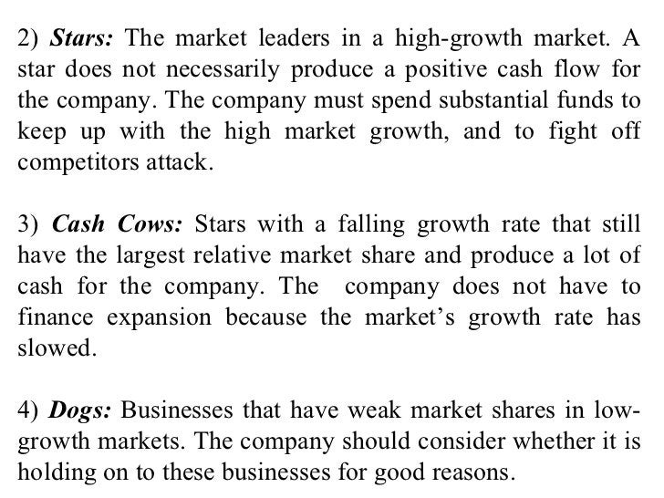 2)  Stars:  The market leaders in a high-growth market. A star does not necessarily produce a positive cash flow for the c...