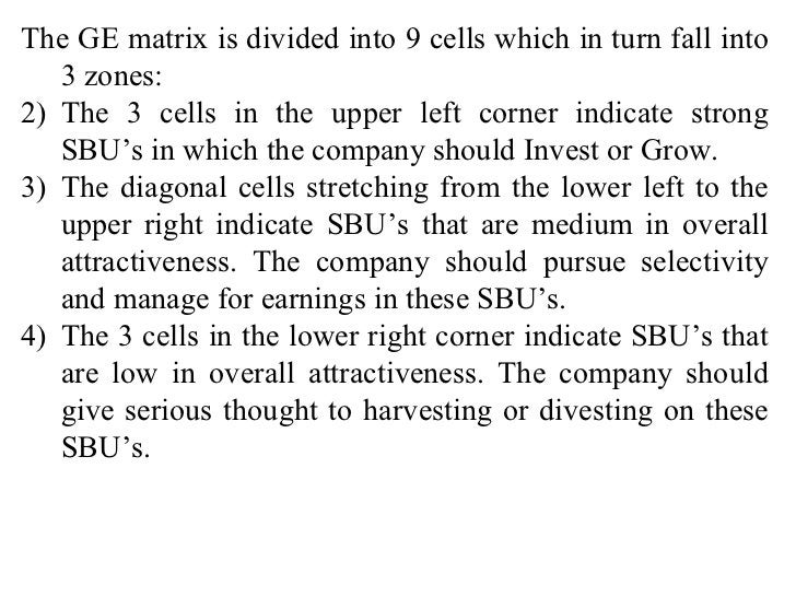 <ul><li>The GE matrix is divided into 9 cells which in turn fall into 3 zones: </li></ul><ul><li>The 3 cells in the upper ...