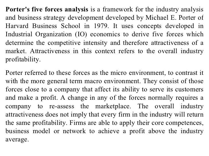 Porter's five forces analysis  is a framework for the industry analysis and business strategy development developed by Mic...