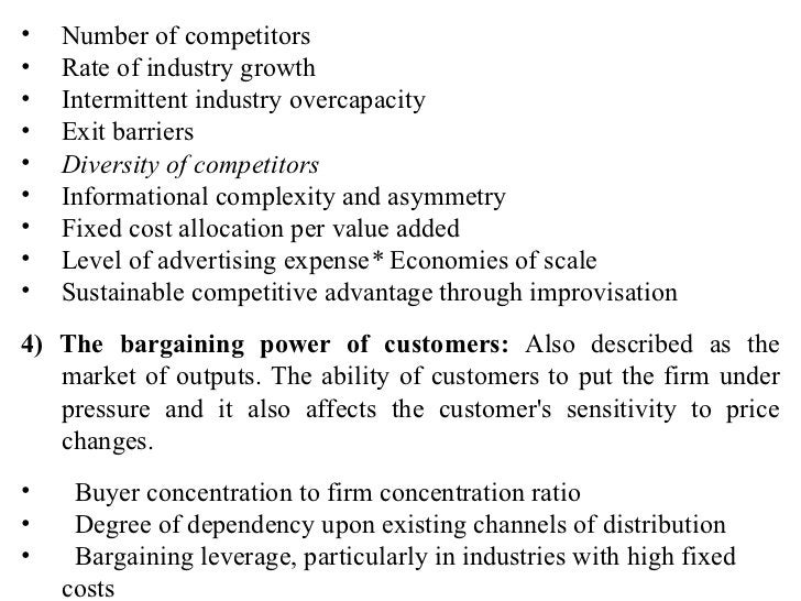 <ul><li>Number of competitors </li></ul><ul><li>Rate of industry growth </li></ul><ul><li>Intermittent industry overcapaci...