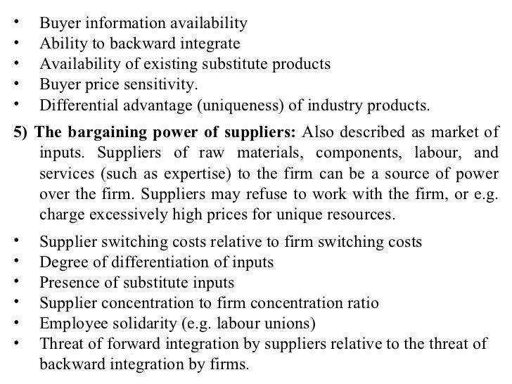 <ul><li>Buyer information availability </li></ul><ul><li>Ability to backward integrate </li></ul><ul><li>Availability of e...