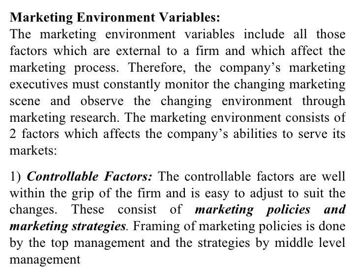 external and internal factors affects the marketing activities of the firm This study explores the influence of technological environmental factors  external environmental factors  marketing strategy is a means by which a firm.