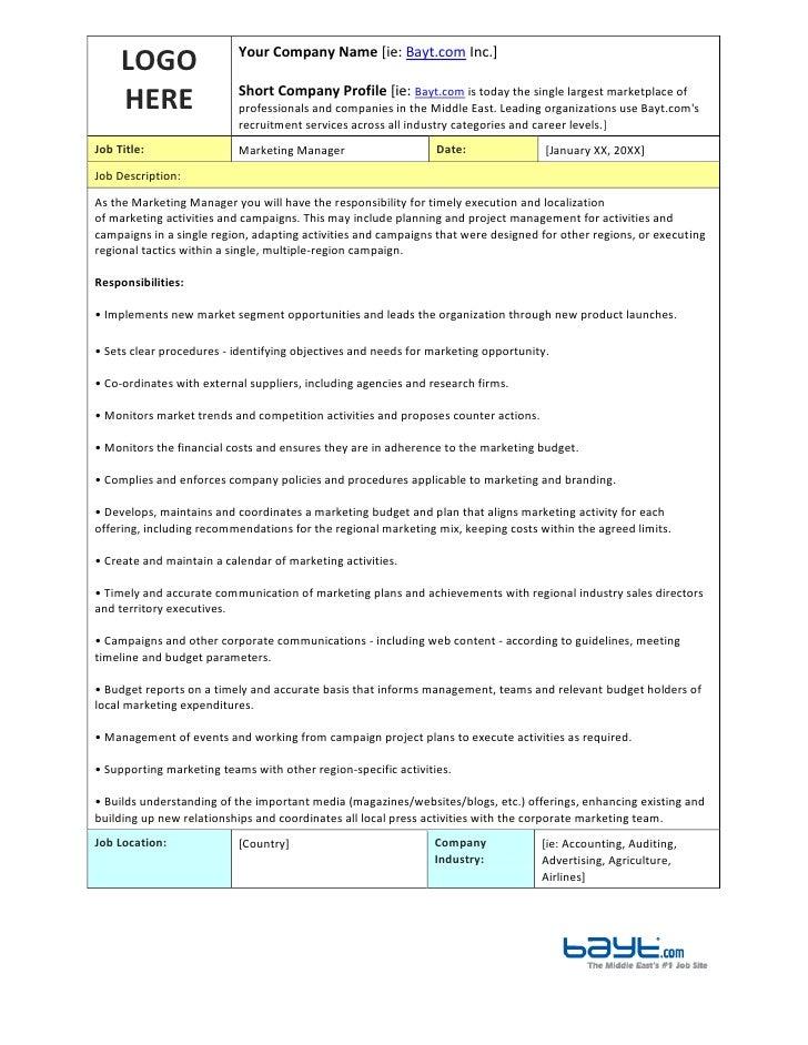 marketing manager job description template by bayt com