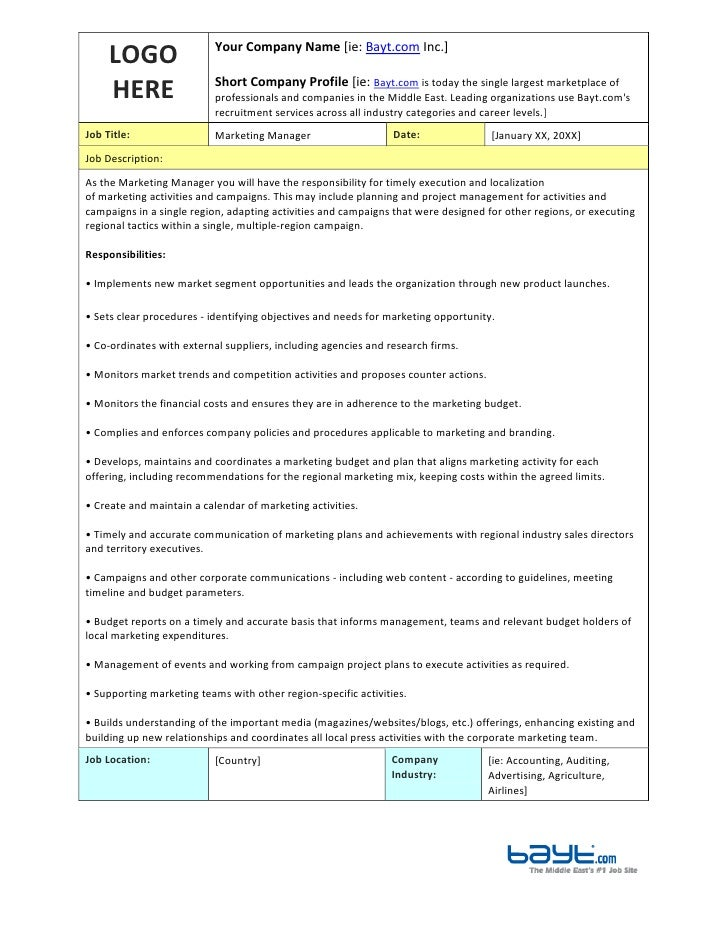 Marketing Manager Job Description Template By BaytCom