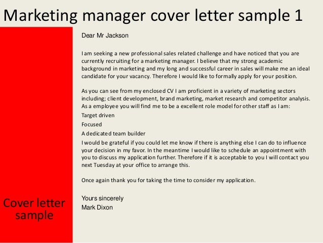 Marketing manager cover letter for Brand management cover letter