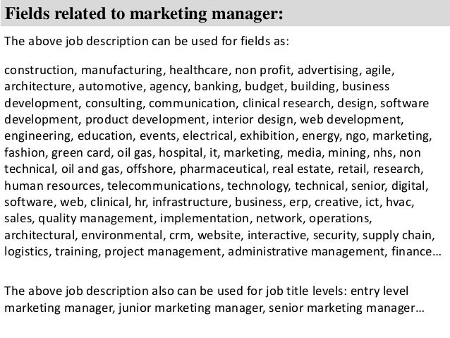 8 Fields Related To Marketing Manager The Above Job Description   Marketing  Director Roles And Responsibilities