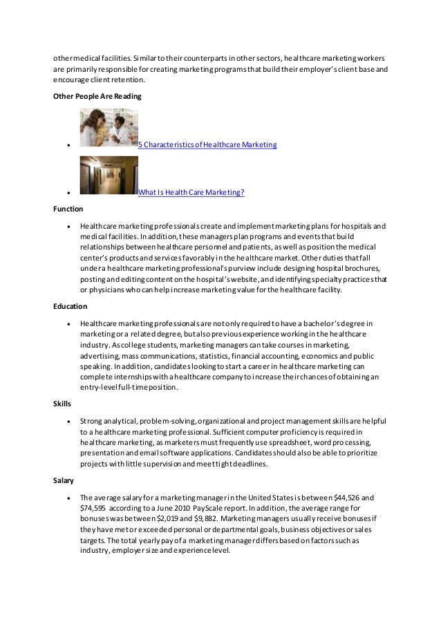 marketing project manager job description