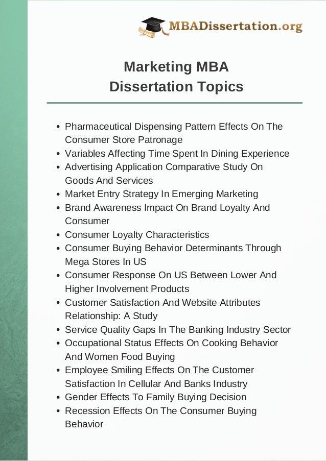 marketing dissertation topics consumer behavior