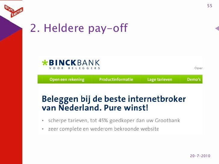 2. Heldere pay-off<br />55<br />20-7-2010<br />