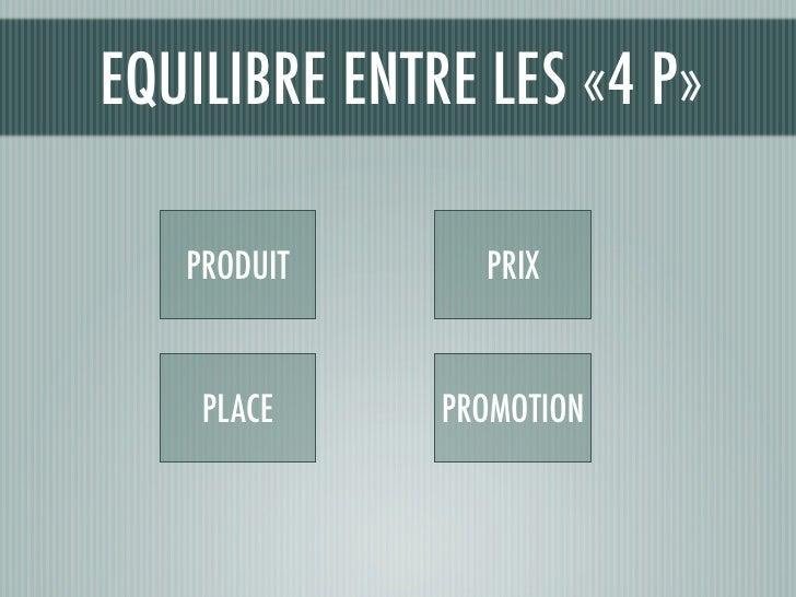 EQUILIBRE ENTRE LES «4 P»     PRODUIT      PRIX       PLACE     PROMOTION