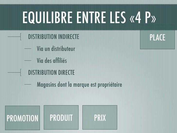 EQUILIBRE ENTRE LES «4 P»       DISTRIBUTION INDIRECTE                        PLACE          Via un distributeur          ...