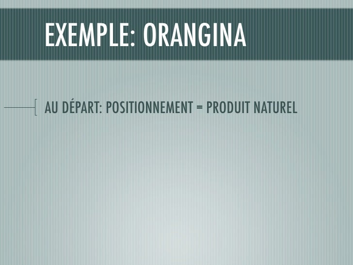EXEMPLE: ORANGINA  AU DÉPART: POSITIONNEMENT = PRODUIT NATUREL